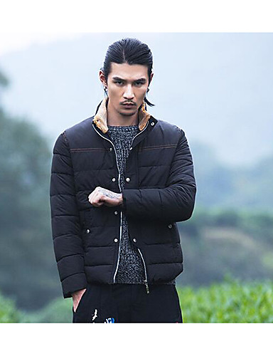 Men's Padded Coat,Simple Active Daily Casual Solid Striped-Cotton Polyester Cotton Long Sleeves