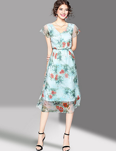Women's Going out Cute Swing Dress,Print V Neck Midi Short Sleeves Polyester Summer Mid Rise Micro-elastic Medium