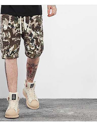 Men's Mid Rise Micro-elastic Chinos Shorts Pants,Street chic Active Punk & Gothic Straight Solid Camouflage