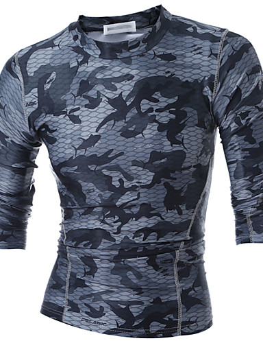 Men's Sports Active T-shirt - Camouflage / Long Sleeve