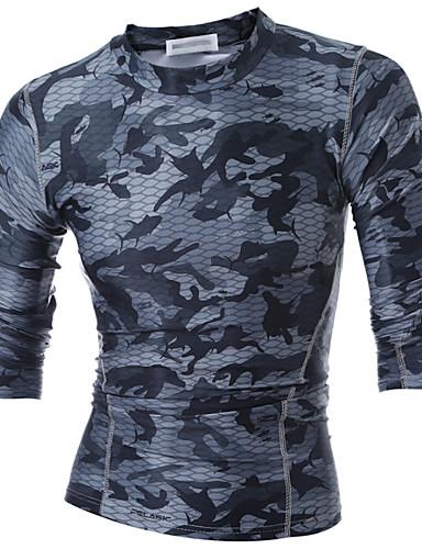 Homens Camiseta - Esportes Activo camuflagem / Manga Longa / Primavera / Outono