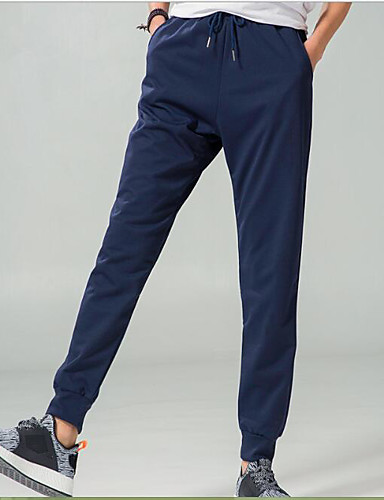 Men's Mid Rise Micro-elastic Skinny Pants,Simple Loose Solid Striped
