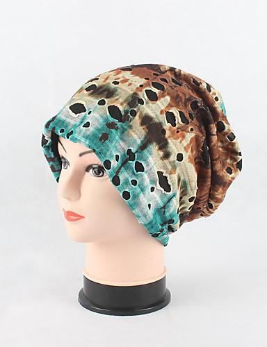 Women's Cotton Beanie Floppy Hat Headwear Cute Casual Modern Daily Knitwear Solid Fall Winter Rainbow Print Cap Scarf Grey/Red/Blue