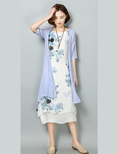 Women's Going out Casual Loose Dress,Floral Round Neck Asymmetrical Sleeveless Polyester Summer Mid Rise Micro-elastic Medium