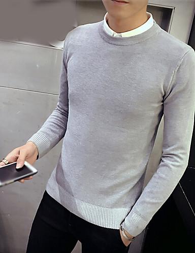 Men's Daily Regular Pullover,Solid Round Neck Long Sleeves Cotton Fall Winter Medium Micro-elastic