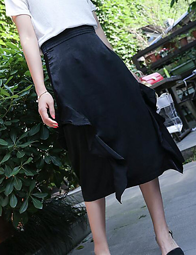 Women's Daily Midi Skirts A Line Solid Summer