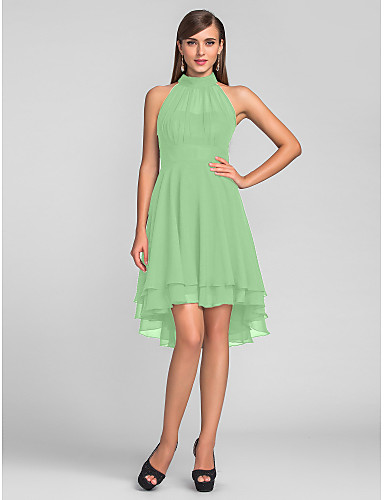 e8785e253cb9 Χαμηλού Κόστους Φορέματα κοκτέιλ-Γραμμή Α Δένει στο Λαιμό Ασύμμετρο Σιφόν  Μικρό Μαύρο Φόρεμα