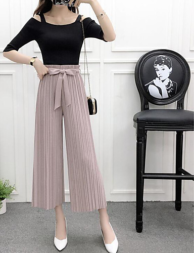 Women's Mid Rise Micro-elastic Wide Leg Pants,Active Cute Wide Leg Pleated Solid