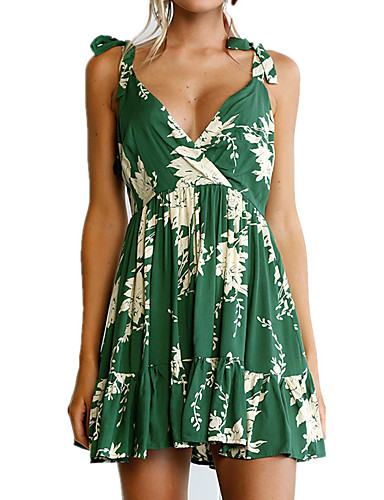 Women's Holiday Going out Beach Vintage Sexy Boho Skater Dress,Floral V Neck Above Knee Sleeveless Polyester Spring Summer High Rise