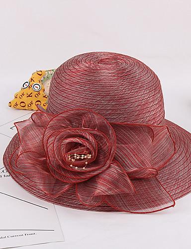 ieftine Accesorii de Damă-Pentru femei Kentucky Derby Peteci Amestec de culori Floare,Organza-Floppy Primăvara & toamnă Vară Fucsia Gri Deschis Bleumarin / Draguț