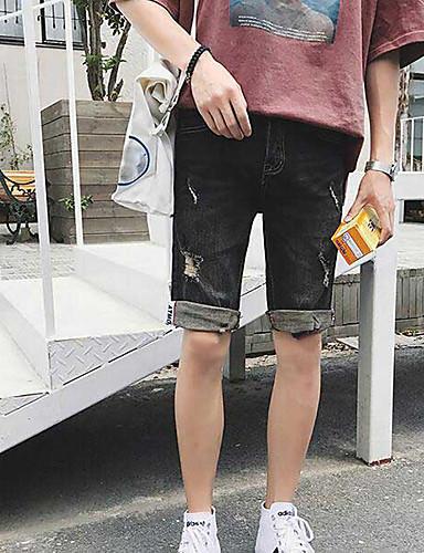 Men's Mid Rise Micro-elastic Jeans Shorts Pants,Simple Slim Solid