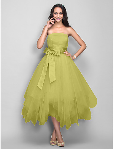 Ball Gown Strapless Tea Length Satin   Tulle Cocktail Party   Prom Dress  with Bow(s)   Sash   Ribbon by TS Couture® 0b6f03ab4f8c