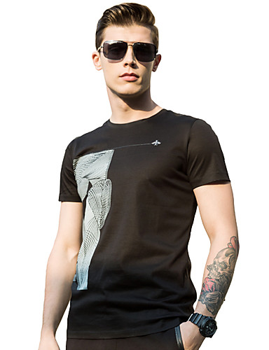 Miehet Lyhythihainen Keskipaksu Pyöreä kaula-aukko Puuvilla Polyesteri Kesä Yksinkertainen Rento/arki T-paita,Yhtenäinen