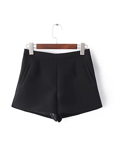 Women's Mid Rise strenchy Shorts Pants,Street chic Relaxed Pure Color Solid