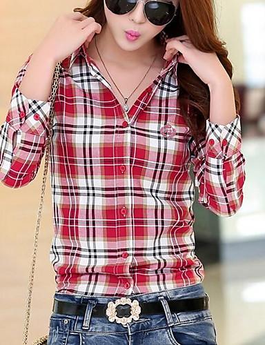 Mulheres Camisa Social Xadrez Algodão Colarinho de Camisa