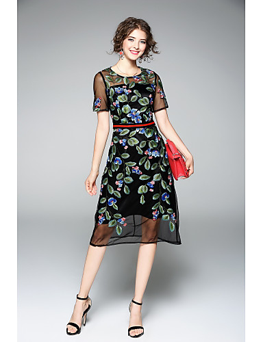 Women's Party Going out Vintage Street chic Sophisticated A Line Sheath Dress,Embroidered Round Neck Knee-length Short Sleeves Polyester