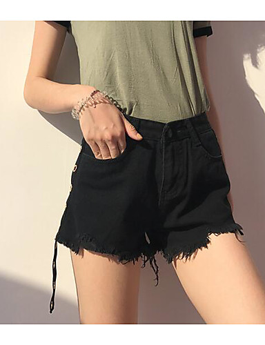 Women's Street chic Denim Wide Leg / Shorts Pants - Solid Colored High Waist / Summer / Going out
