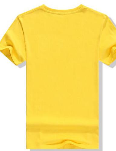Bomull Kortermet,Rund hals T-skjorte Ensfarget Trykt mønster Bokstaver Enkel Fritid/hverdag Herre