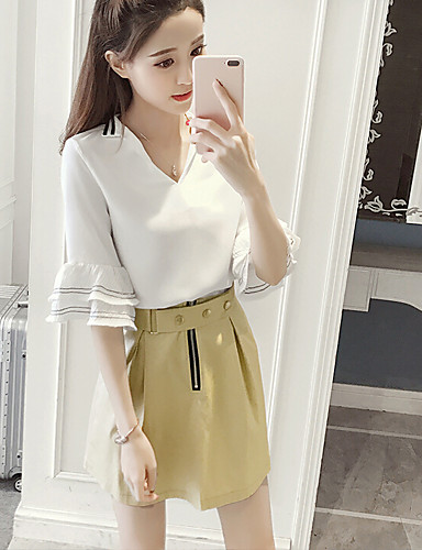 Women's Daily Casual Casual Summer Blouse Skirt Suits,Solid Round Neck Short Sleeve 100%Wool Micro-elastic