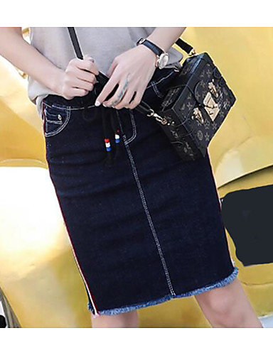Women's Daily Knee-length Skirts A Line Color Block Summer