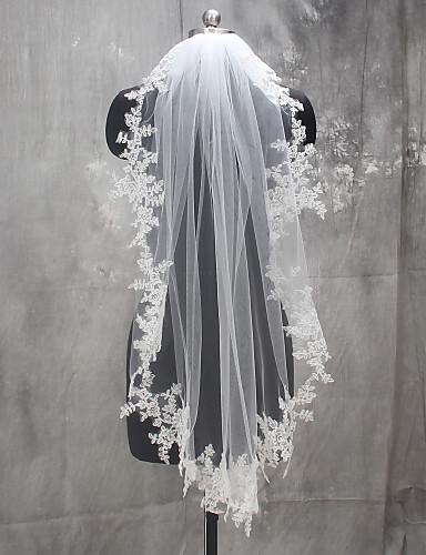 One-tier Lace Applique Edge Wedding Veil Fingertip Veils 53 Appliques Lace Tulle