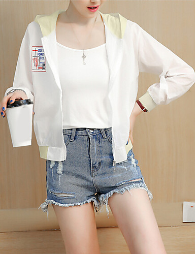 Women's Daily Casual Summer Jacket,Color Block Hooded Long Sleeve Regular Polyester