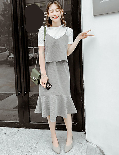 Women's Going out Vintage Summer T-shirt Skirt Suits,Lines / Waves Round Neck Short Sleeve Cotton