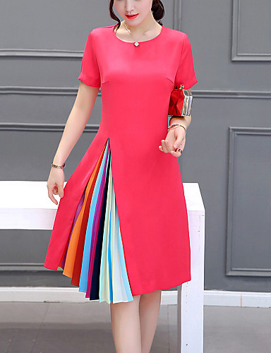 Women's Plus Size Going out / Weekend Sophisticated A Line Dress - Color Block Pleated / Summer / Loose