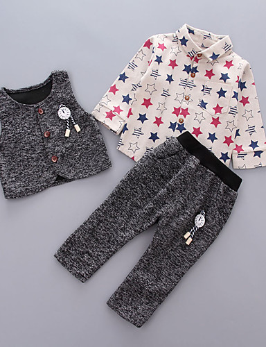 Boys' Fashion And Lovely Cartoon  Letters  Printing Long-Sleeved Shirt Harlan Leisure Trousers Three-Piece