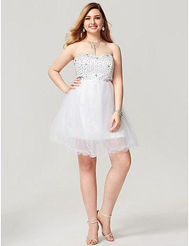A-Line Sweetheart Short / Mini Satin Tulle Cocktail Party / Homecoming / Prom Dress with Crystal Detailing by TS Couture®