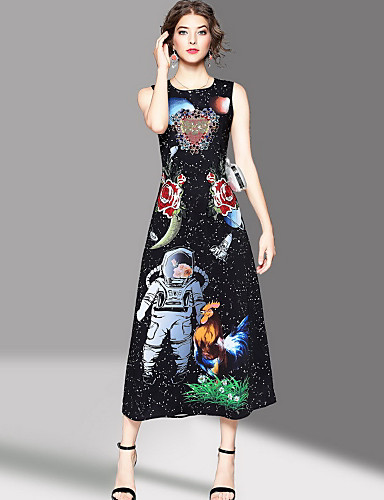 Women's Going out Cute Sheath Dress,Print Round Neck Maxi Sleeveless Polyester Summer Mid Rise Micro-elastic Medium