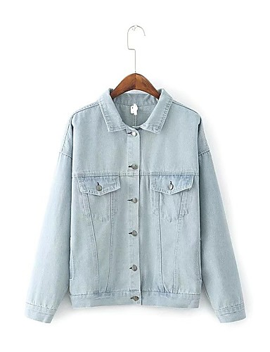 Women's Going out Daily Street chic Spring Fall Denim Jacket