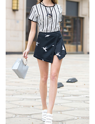 Women's Going out Street chic Summer T-shirt Skirt Suits,Striped Round Neck Short Sleeve Peplum Faux Fur Micro-elastic