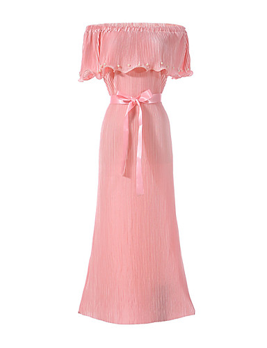Women's Party Holiday Going out Club Beach Vintage Sexy Street chic Sheath Dress,Solid Boat Neck Maxi Sleeveless Polyester Summer High