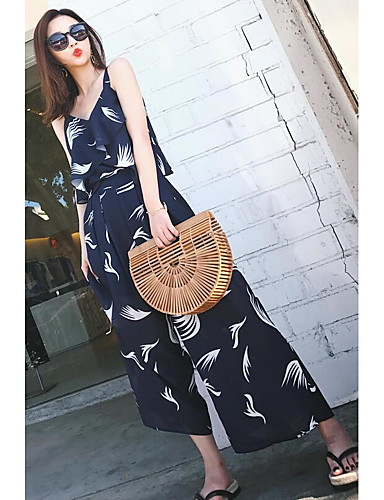 Women's Going out Casual/Daily Simple Street chic Print Strap Pant Sleeveless Summer Silk