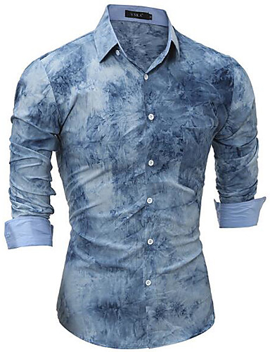 Men's Casual/Daily Work Simple Shirt,Solid Print Shirt Collar Long Sleeves Cotton Others