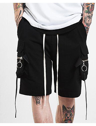 Men's Mid Rise Micro-elastic Chinos Shorts Pants,Street chic Active Punk & Gothic Straight Tassel Solid