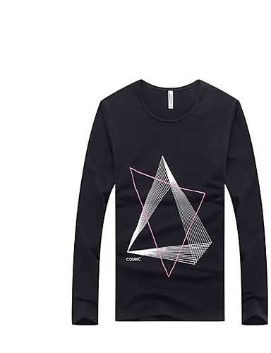 Men's Cotton T-shirt - Geometric, Print Round Neck