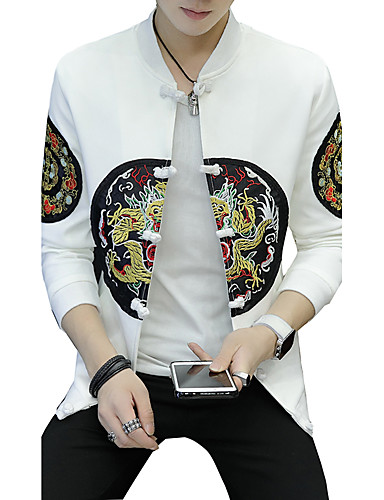 Men's Daily / Going out Active / Street chic Fall / Winter Plus Size Regular Jacket, Animal Dragon Stand Long Sleeve Cotton / Polyester / Spandex Patchwork / Embroidered / Print White / Black XL