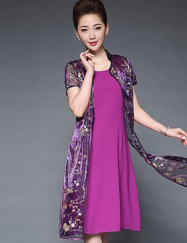 Mulheres Tamanhos Grandes Reto Vestido - Estampado Colarinho Chinês