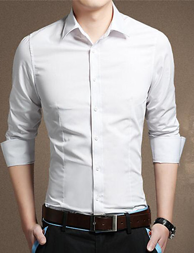 Men's Casual/Daily Work Simple Shirt,Solid Shirt Collar Long Sleeves Cotton Others