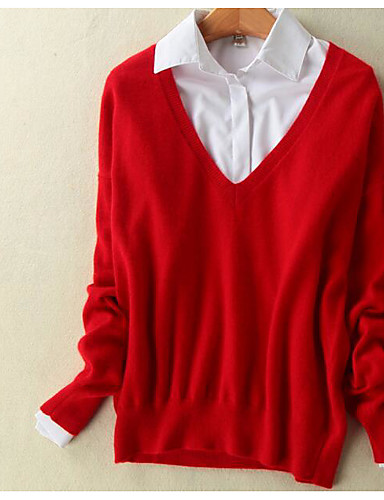 Women's Going out Cute Short Pullover,Solid V Neck Long Sleeves Wool Cotton Spring Thick Stretchy