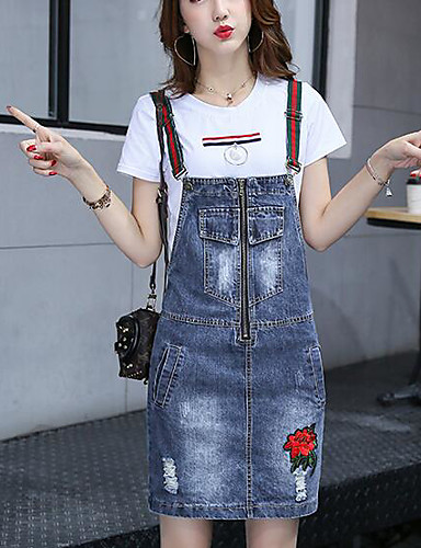 Women's Casual Casual Summer T-shirt Skirt Suits,Solid Round Neck Short Sleeve Micro-elastic