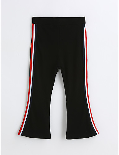 Girls' Solid Pants, Cotton Spring Fall Black