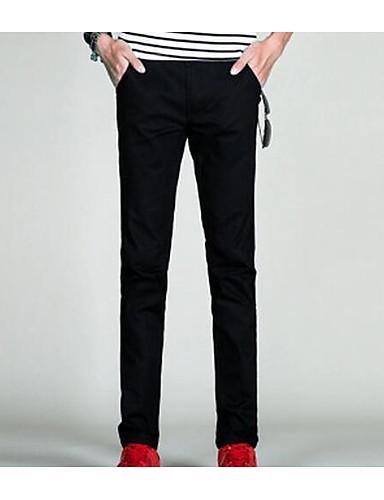 Men's Mid Rise Inelastic Straight Pants,Simple Straight Solid