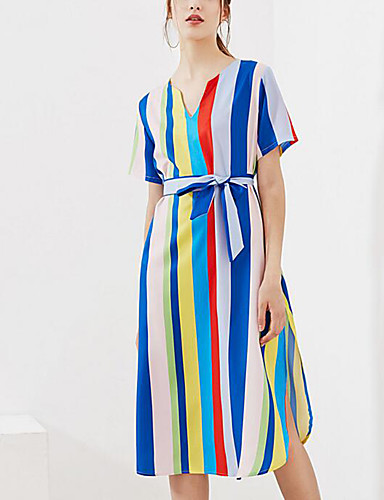 Women's Sophisticated Sheath Dress - Striped, Split V Neck