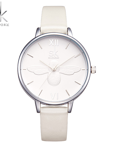 SK Women's Quartz Wrist Watch Chinese Shock Resistant PU Band Casual Fashion White