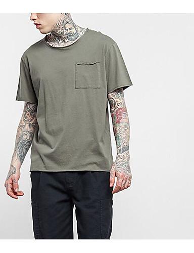 Bomull Lin Medium Kortermet,Rund hals T-skjorte Ensfarget Geometrisk Trykt mønster Vår Sommer Enkel Gatemote Aktiv Sport Ut på byen
