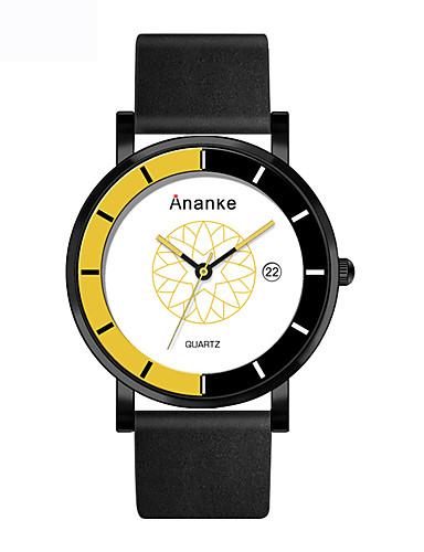 Homens Relógio Esportivo Chinês Criativo / Relógio Casual Couro Legitimo Banda Casual / Fashion / Relógio Elegante Preta