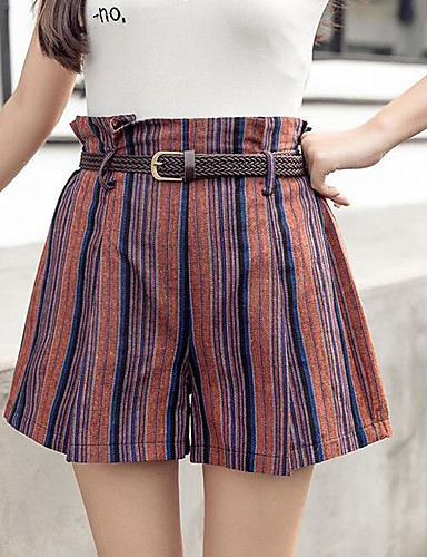 Women's Low Rise Inelastic Shorts Pants,Simple Relaxed Solid